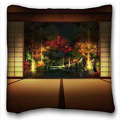 Custom Cotton Polyester Soft Nature Rectangle Pillowcase 16x16 Inches One Side Suitable For Kingbed Detail Japanese Wall Art Fall Wallpaper Asian Wallpaper