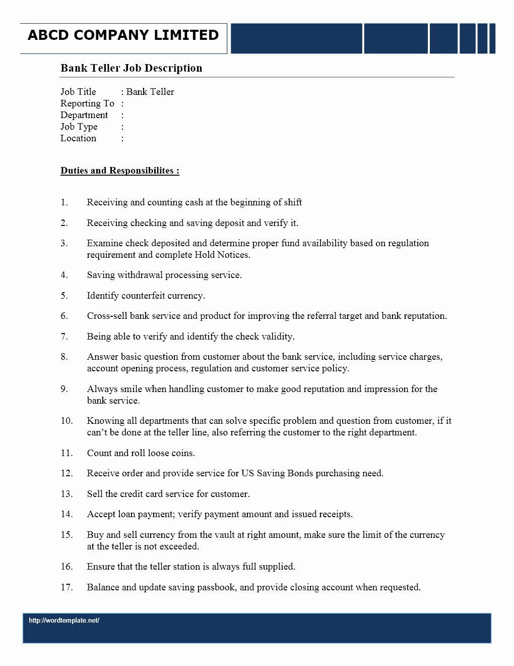 Bank Teller Job Description Resume Luxury Bank Teller Job