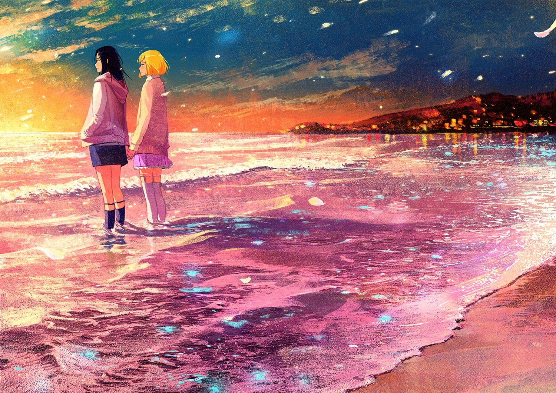2girls beach gemi original scenic shoujo_ai sunset waifu2x