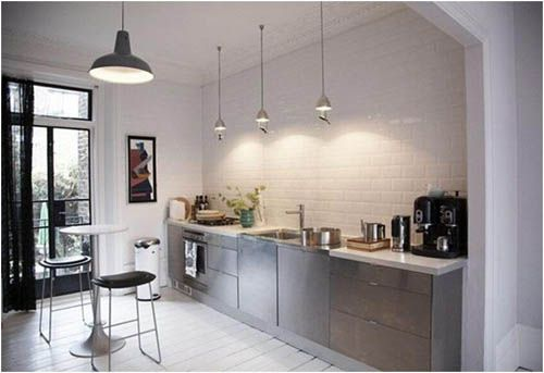 Small Modern Kitchen No Upper Cabinets Small Apartment Kitchen