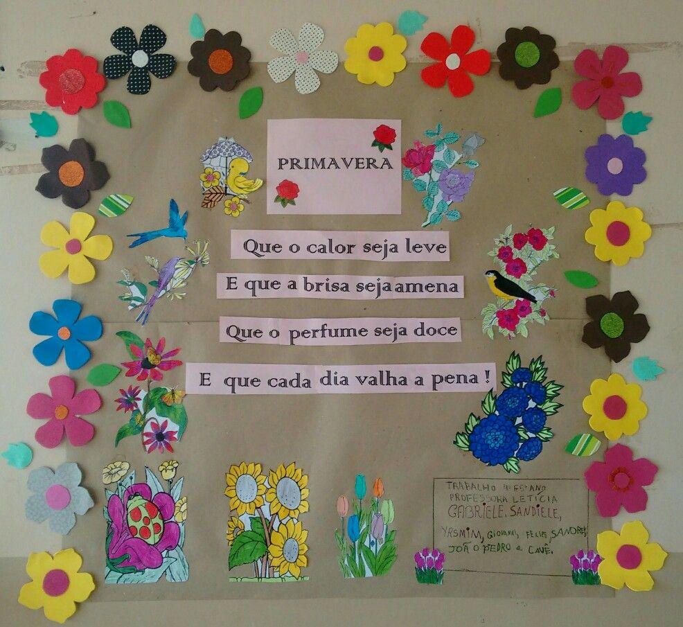Cartaz Escolar Feito Com Os Alunos Para A Chega Da Primavera