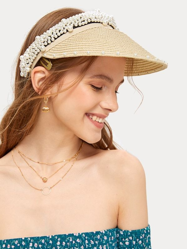 Faux Pearl Decor Straw Woven Visor Shein In 2019 Straw