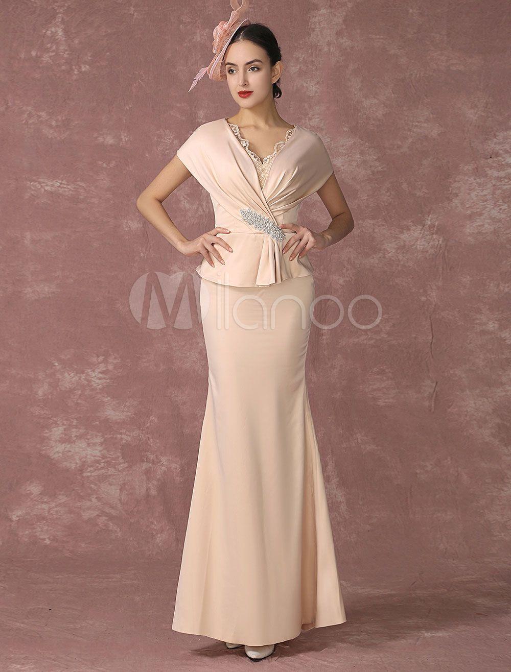 687ad7667172 Vestido de noche tela satén de color champaña con manga corta con ...