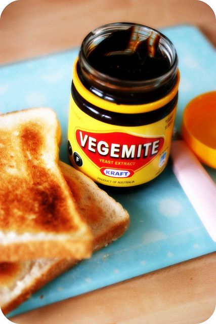 Vegemite - Rich in Vitamin B12.' It takes a little bit if getting use to, it is quite salty. I love it best on hot buttered toast, simply delicious. If you have the chance to try it start off with a little bit and don't stop at 1 taste, try again.