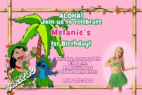 Luau Lilo and Stitch Birthday Invitations Get these invitations
