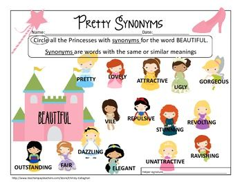 Free Synonym Worksheet For Beautiful Featuring Your