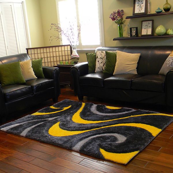 Donnie Ann Shaggy Abstract Wavy Swirl Yellow Area Rug 5