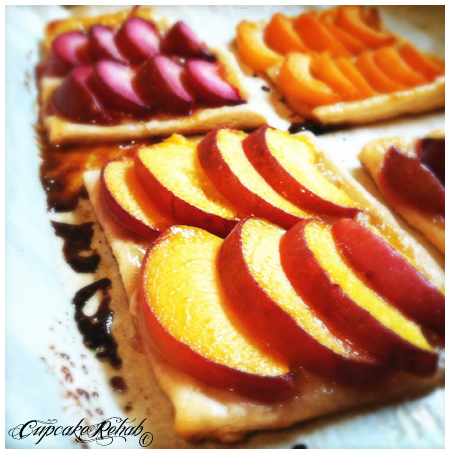 """Cupcake Rehab - Stone fruit galettes, a quick & simple summer dessert made with fresh """"stone fruits"""" and frozen puff pastry. Gorgeous to look at...delicious to eat...Perfect for summer entertaining..."""