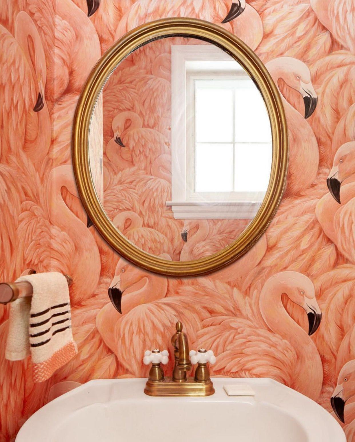 Deco Salle De Bain Flamant Rose ~ flamingo wallpaper bathrooms pinterest salle de bains salle