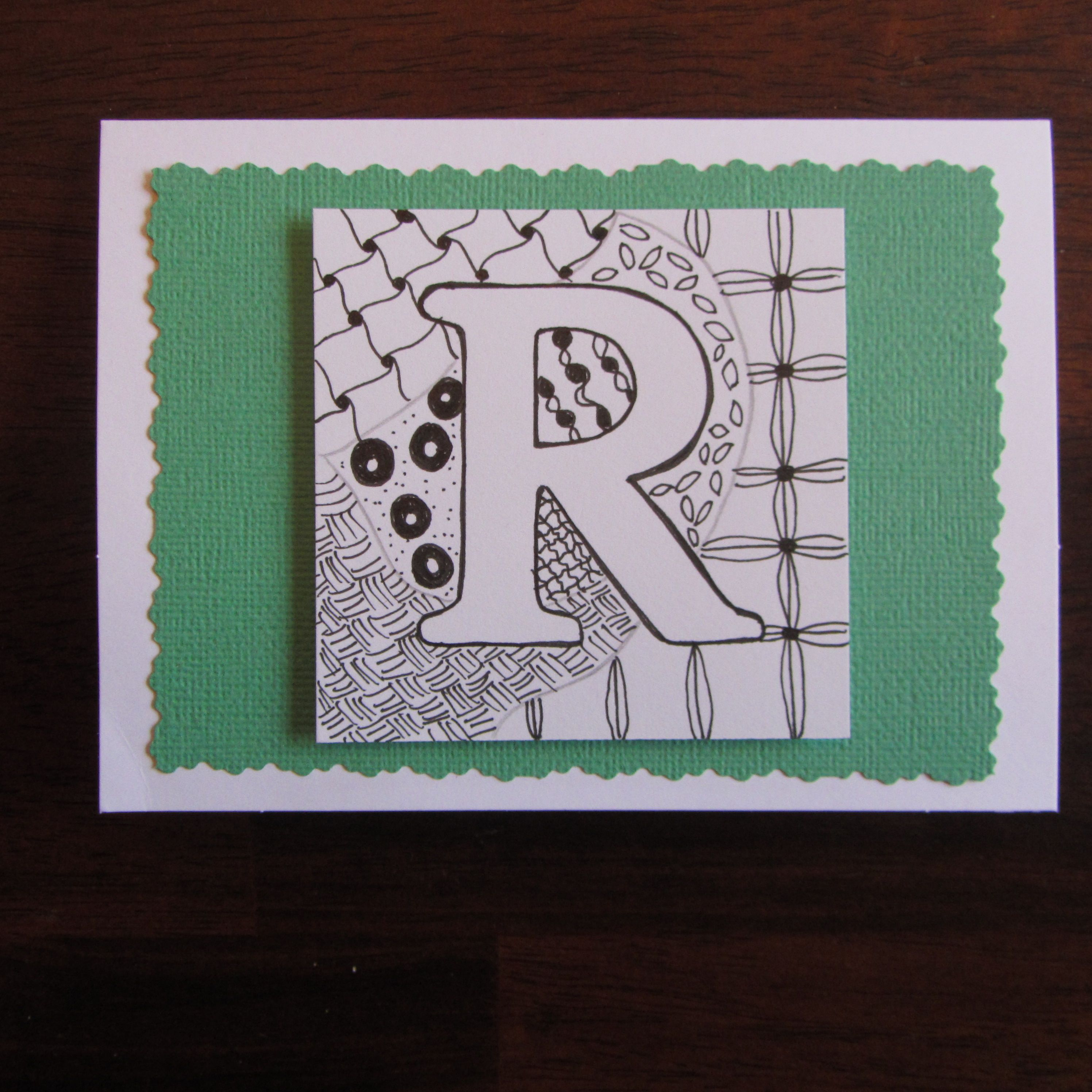 Zentangle Alphabet Birthday Card