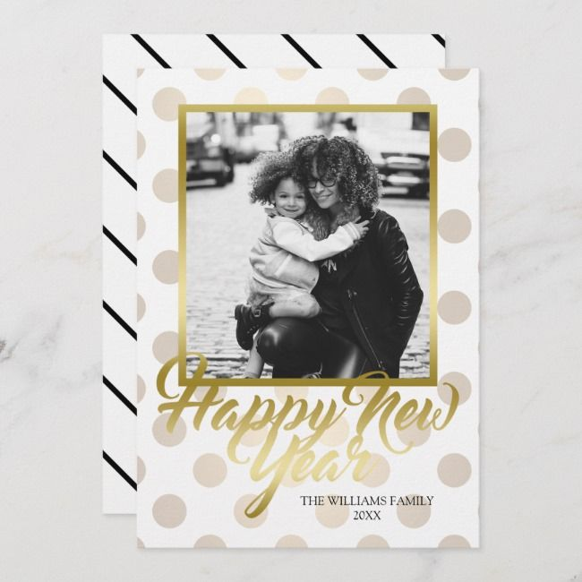Faux Gold & Polka Dots Custom Photo Happy New Year Holiday