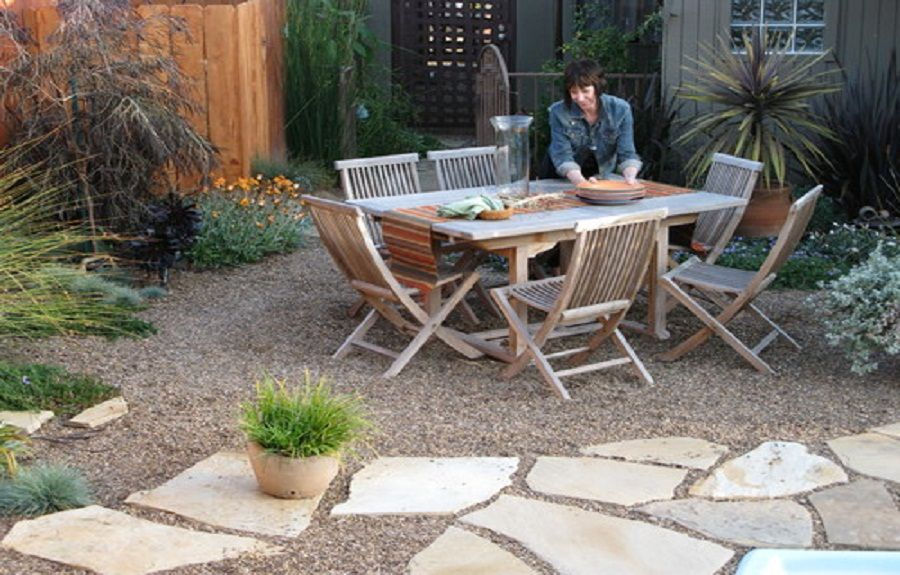 Gravel And Flagstone Paver Mediterranean Patio Designs