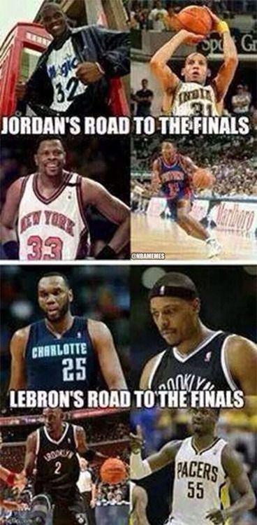 Lebron James Vs Michael Jordan S Road To The Finals Funny Basketball Memes Basketball Quotes Funny Nba Memes