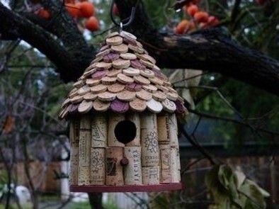 Cute wine cork birdhouse