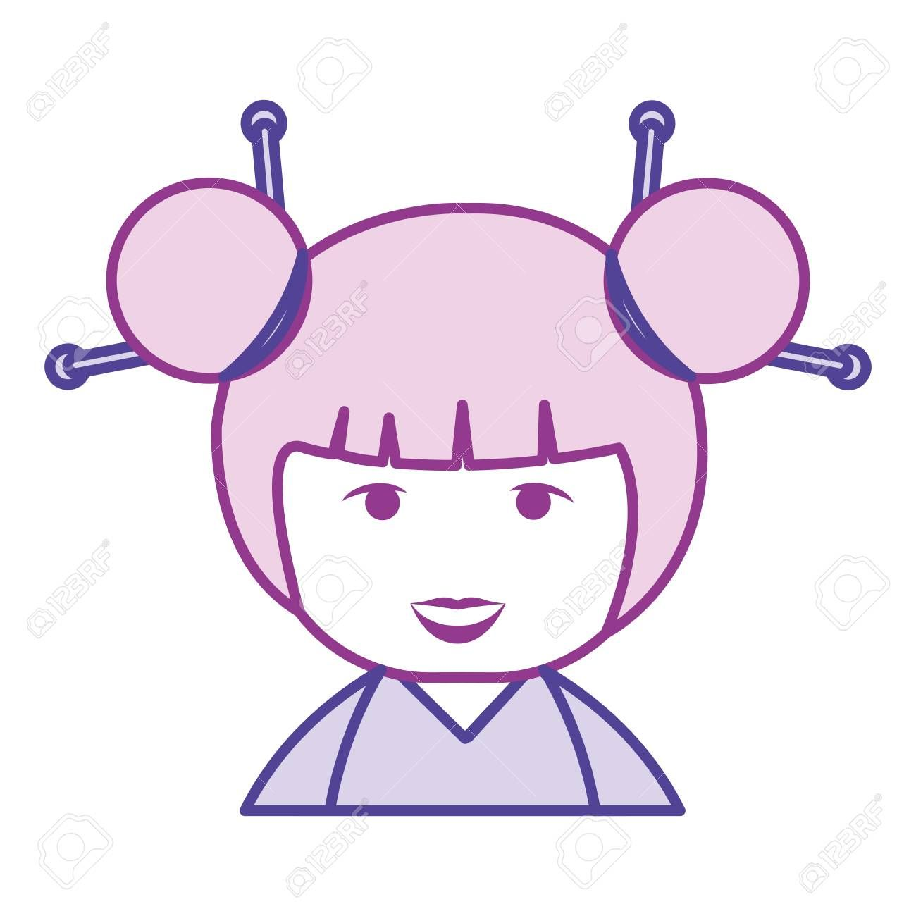 little japanese doll kawaii character vector illustration design ,