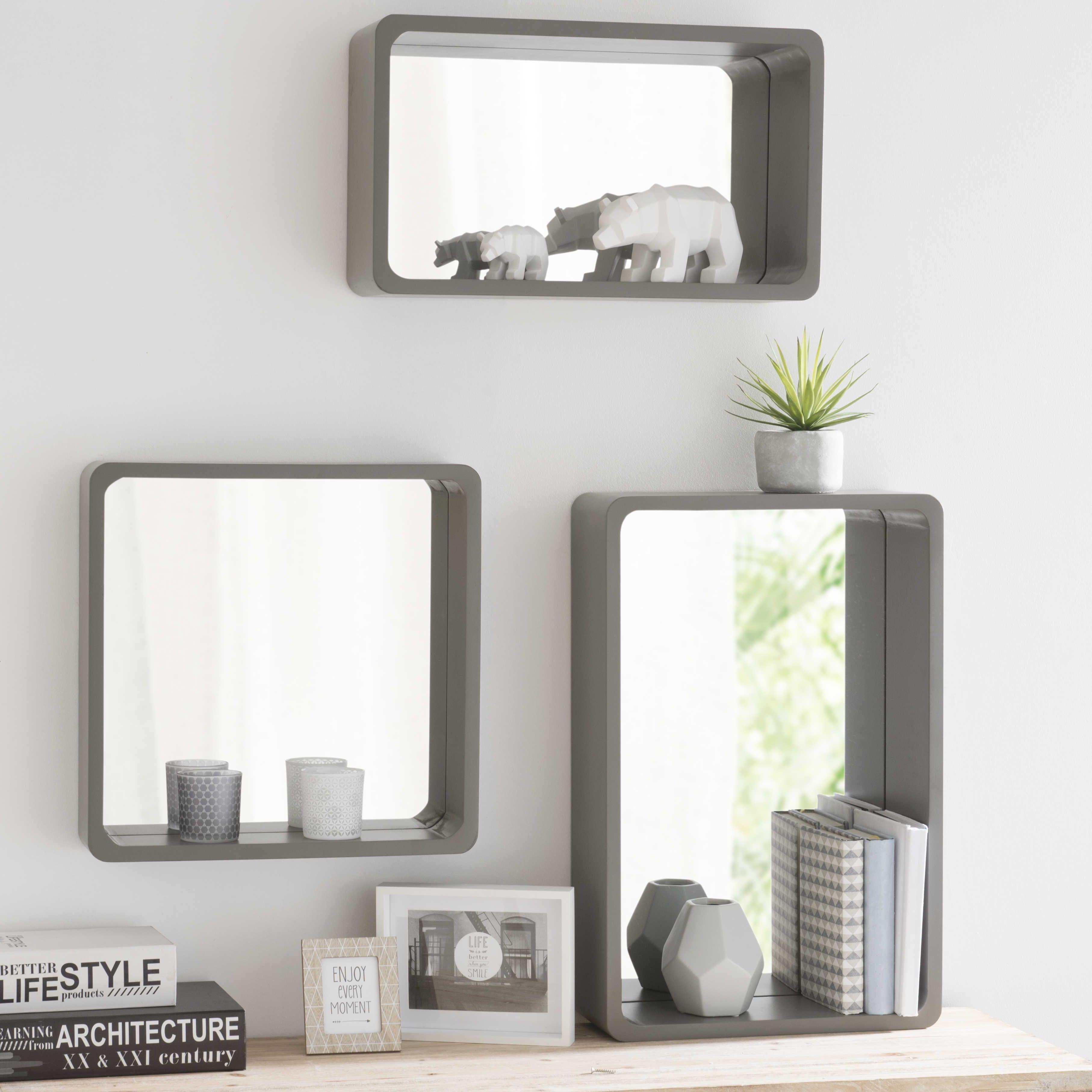 3 Espejos De Madera Efecto Hormig N Gris Grafite Decracion Pared  # Muebles Efecto Espejo