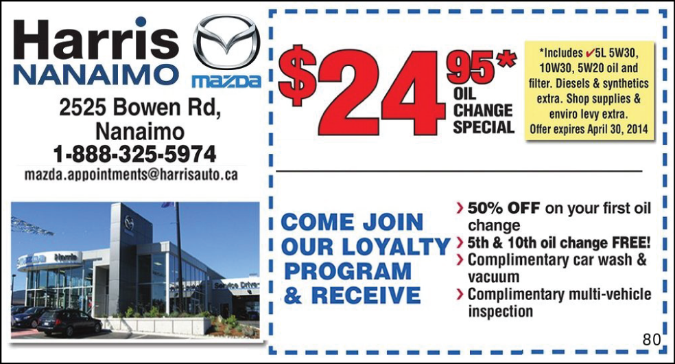 24 95 Oil Change Special From Harris Mazda Nanaimo Oil Change Coupons Canada