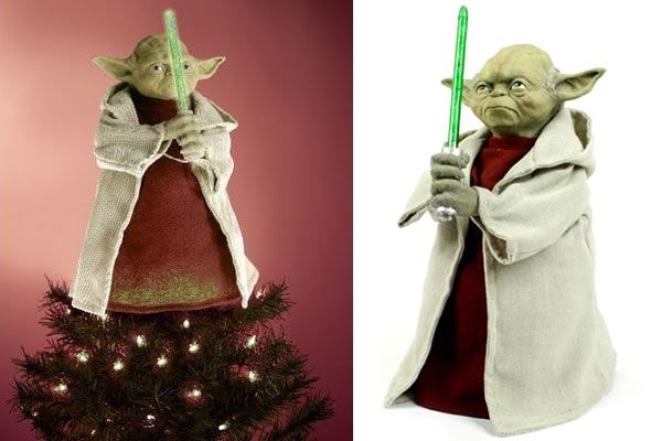 Yoda Xmas Tree Topper Tree toppers, Light saber and Star