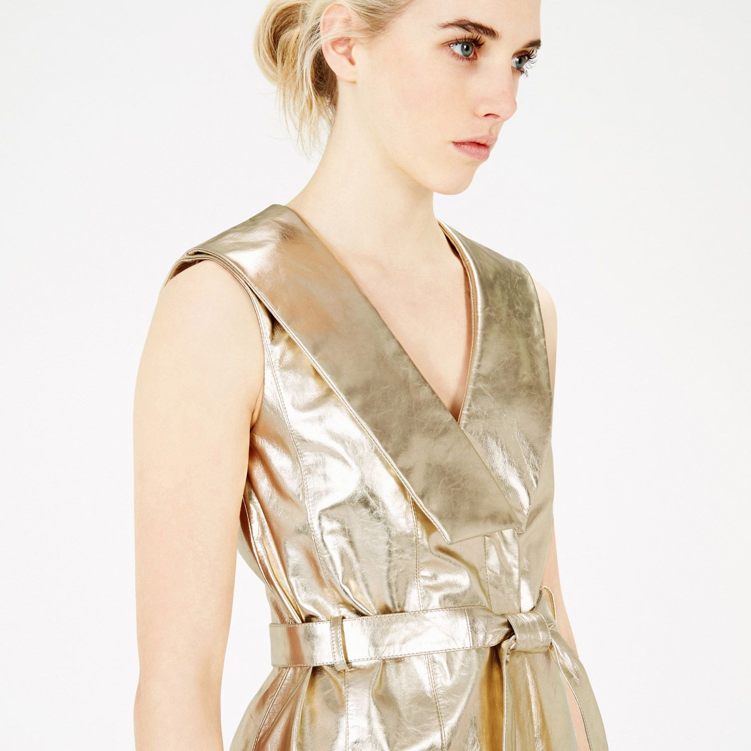 Warehouse metallic leather wrap dress gold colour metallics