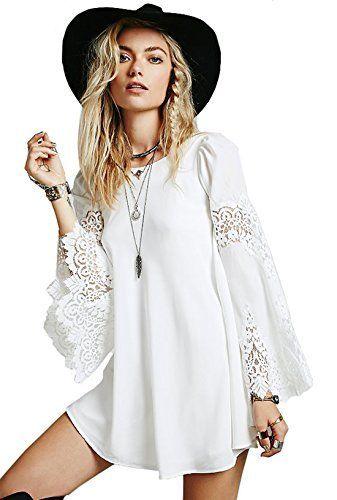 SheIn Women's White Flare Long Sleeve With Lace Vintage Shift Dress, http://www.amazon.com/dp/B00U209GDK/ref=cm_sw_r_pi_awdm_aTE7vb4NFJ5H7