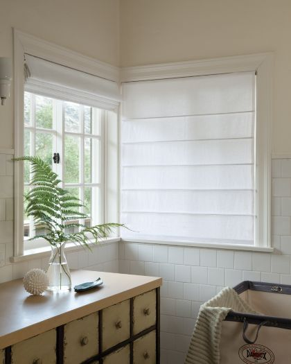 Photo Gallery - Smith+Noble - Plain white roman blinds mounted ...