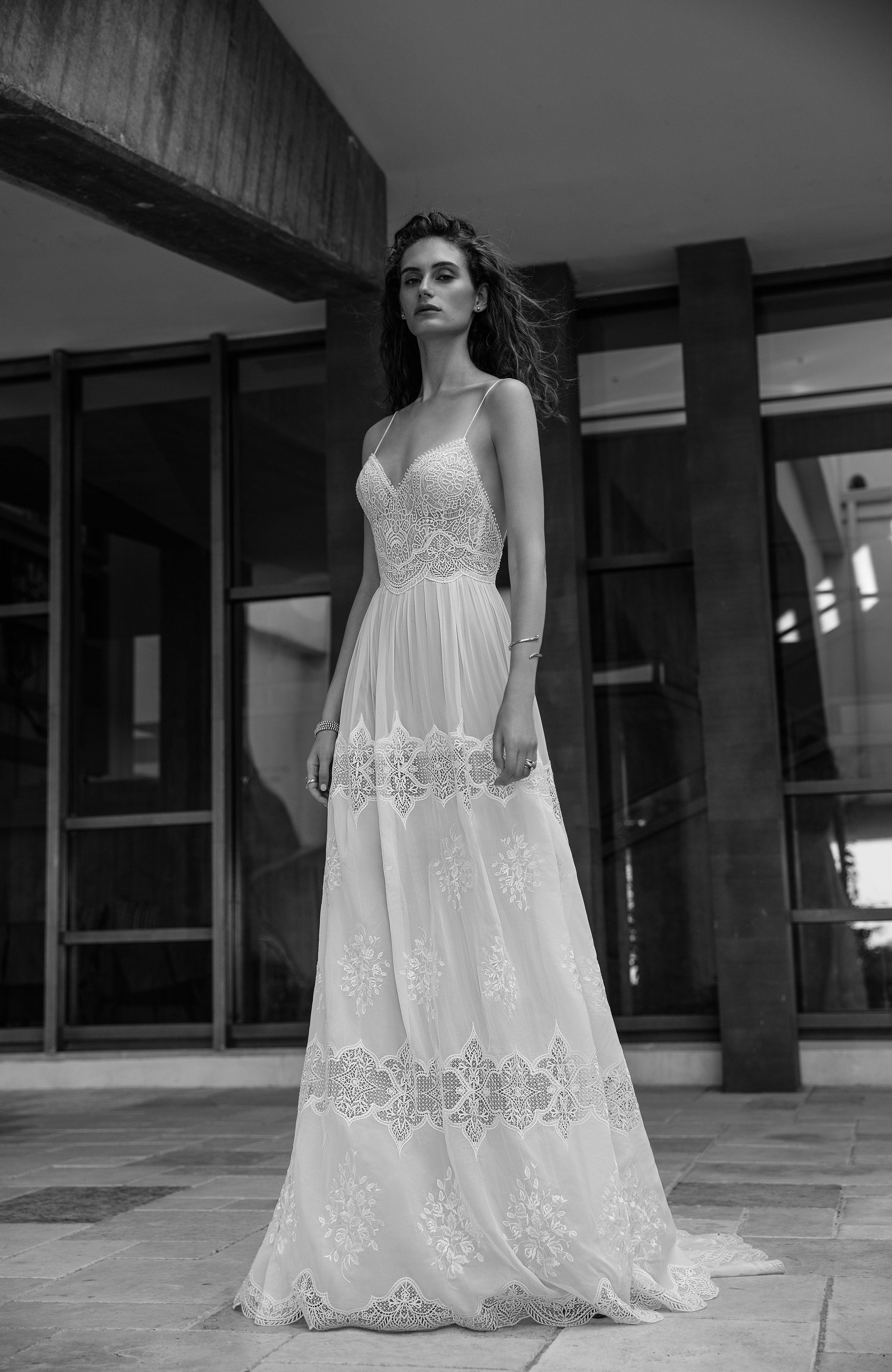 Eva By Flora Vintage Lace Open Back Boho Chic Wedding Dress Spaghetti Straps