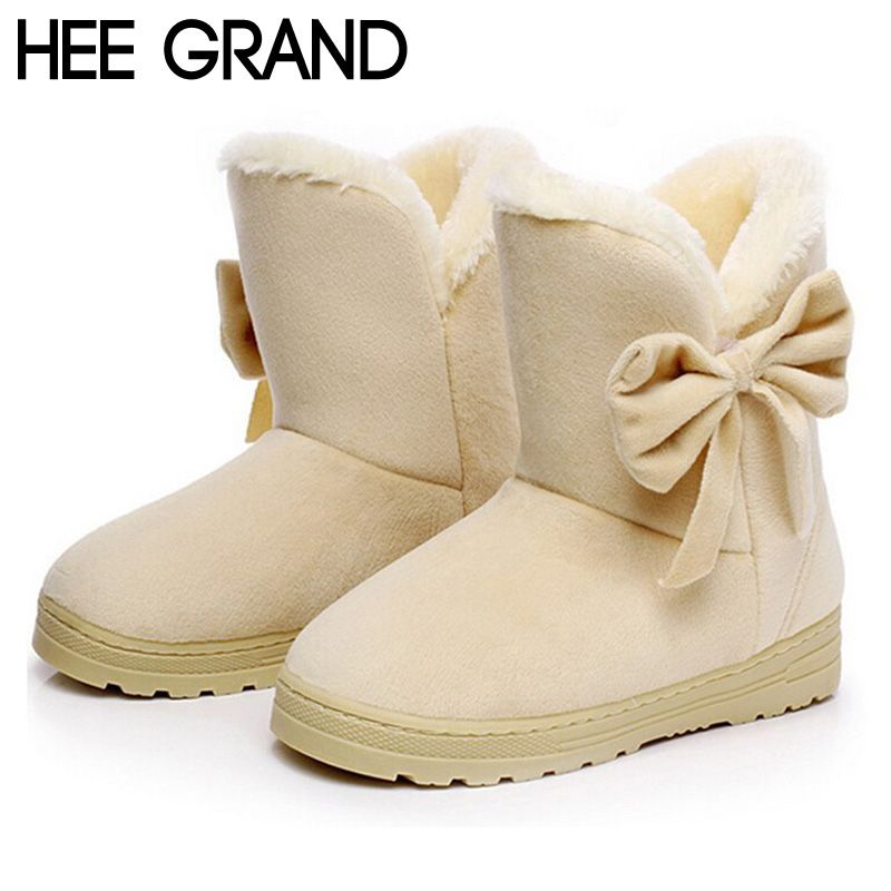 Hee Grand Winter Snow Boots Bowtie Women Boot Flock Warm Inside Platform Flat Ankle Boots Casual Flats Shoes Woman Xwx1385