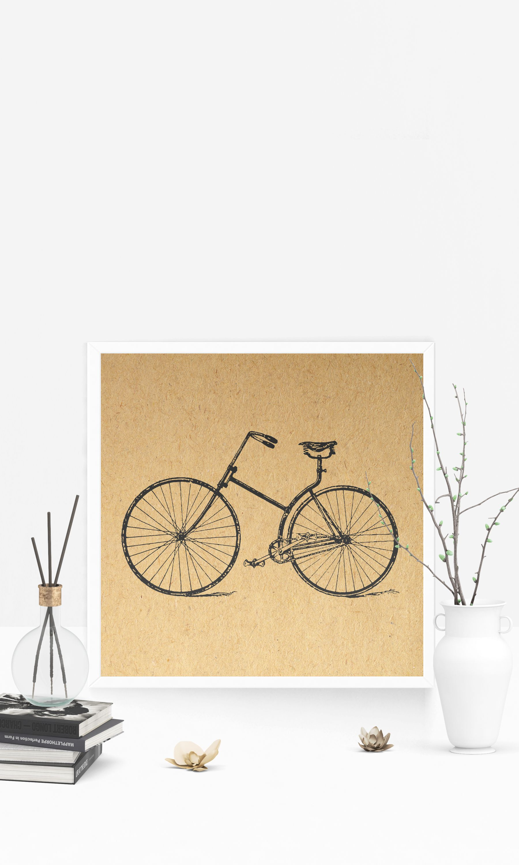 Vintage Bicycle Print with an Antique Bike Illustration Wall Art ...