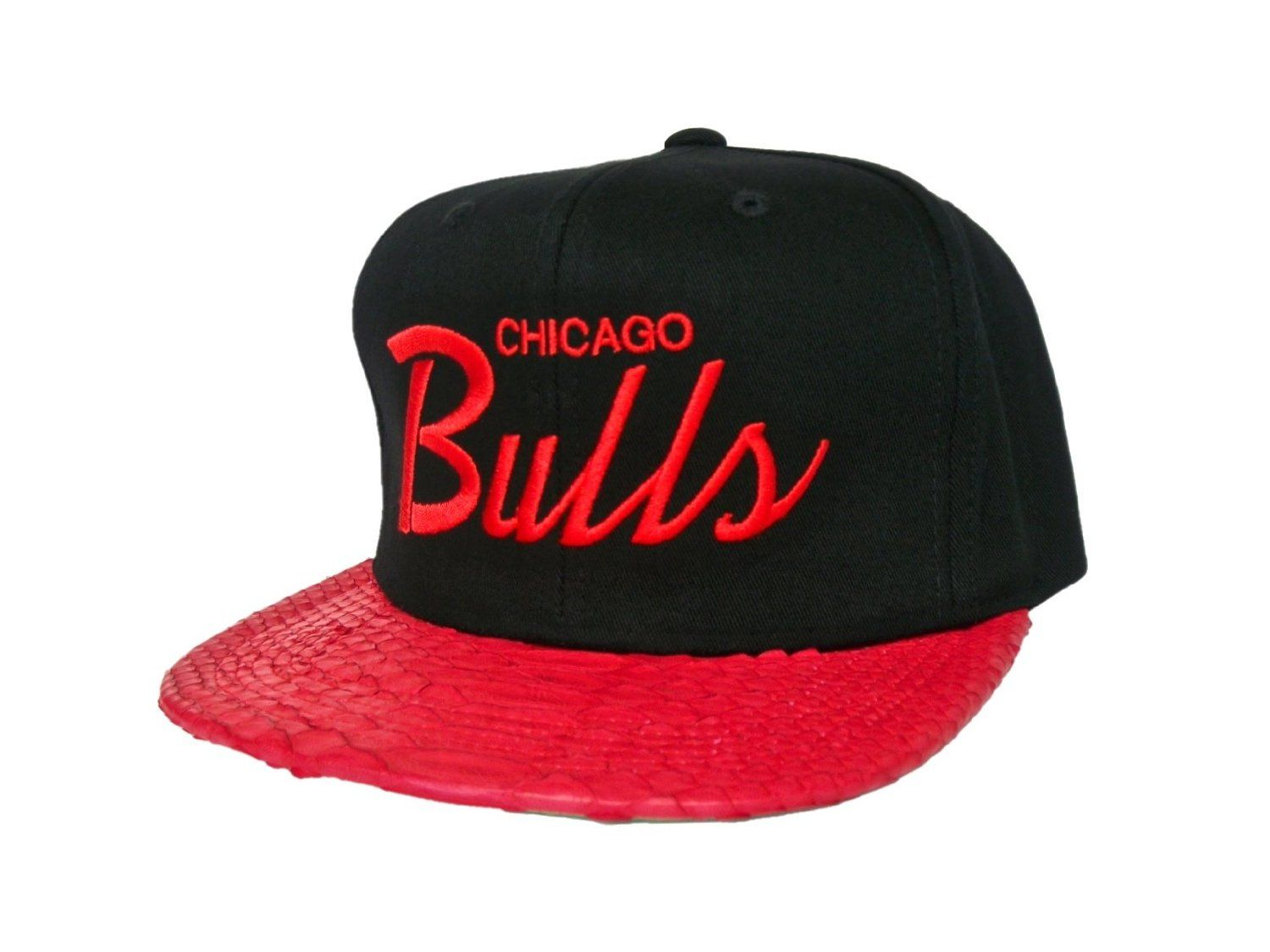 Mitchell   Ness Custom Genuine Red Snakeskin Strapback Hat - CHICAGO BULLS  Script Strap Back Hat - NBA Hat - LIMITED EDITION  Amazon.co.uk  Sports    ... fcac817c6f0