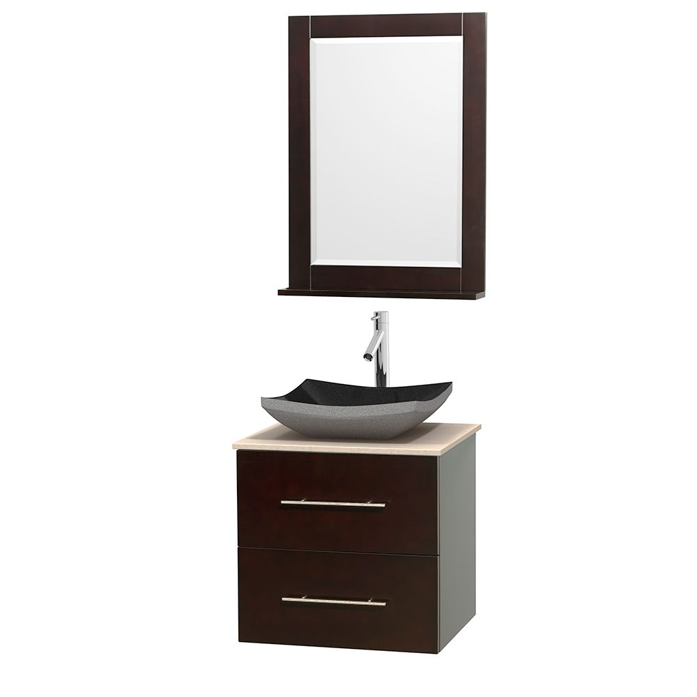 Wyndham Collection Centra 24-inch Single Bathroom Vanity in Espresso w/ Mirror