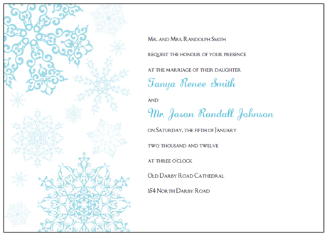 Invitations Printable Blue Snowflake Wedding Invitations Template - Make your own wedding invites templates