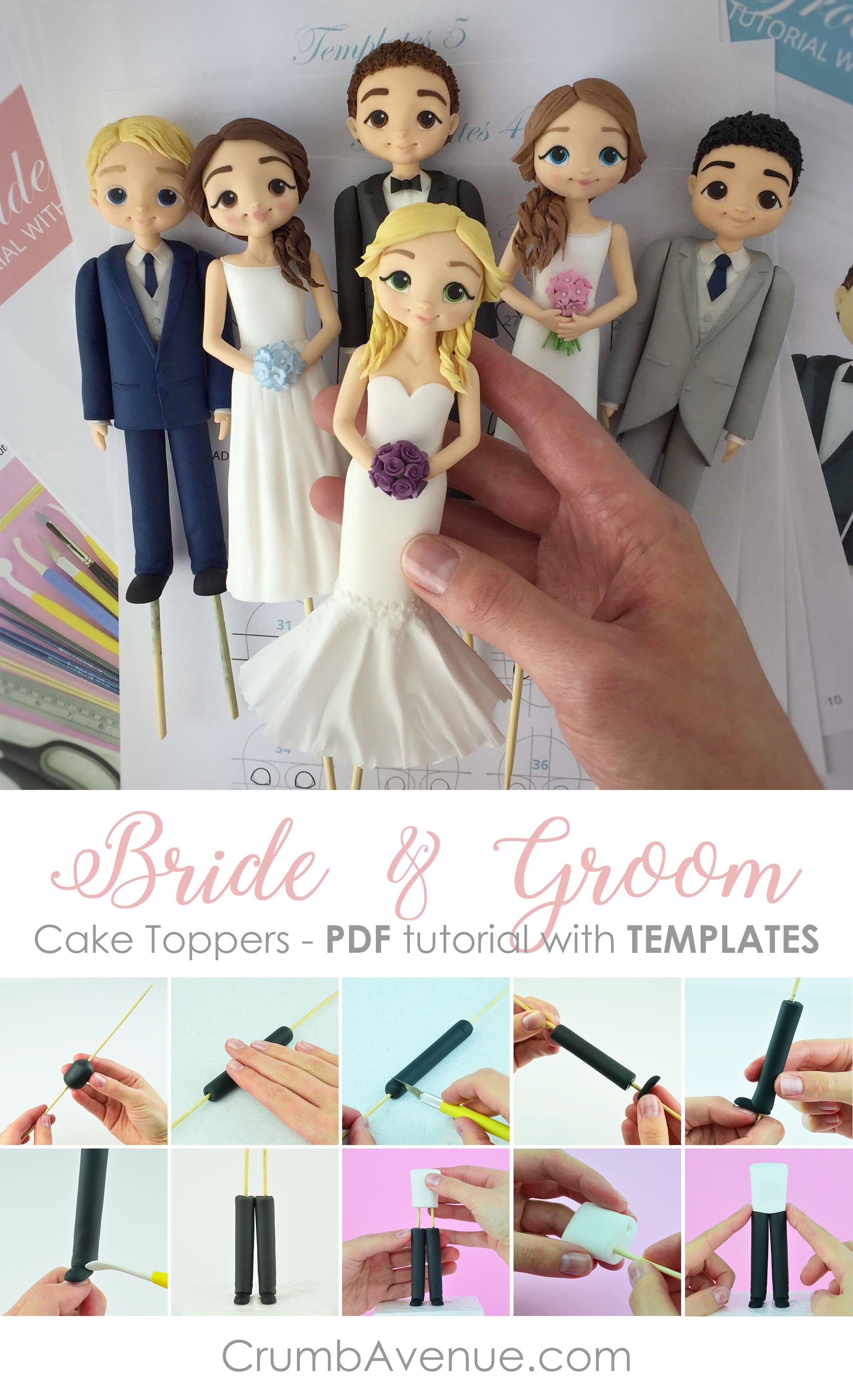 Cute Bride and Groom Cake Toppers - PDF TUTORIAL with TEMPLATES