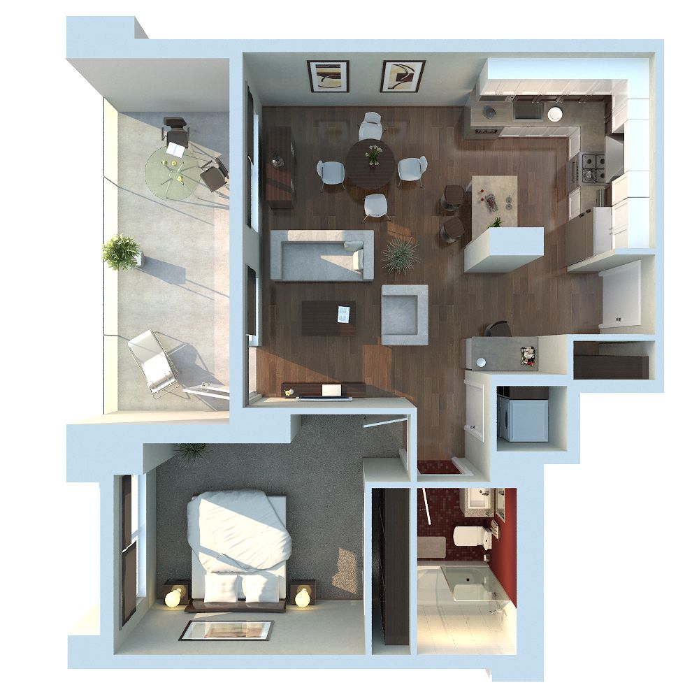 Apartment Layout Planner last choice (kitchen in front ><). apartment 3d floor plan
