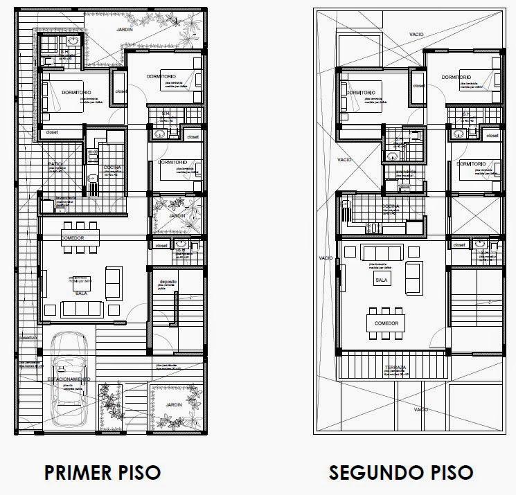 Dos opciones de vivienda bifamiliares en terreno de 9 x 20 m ...