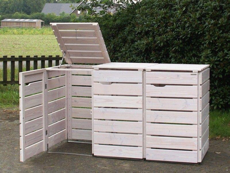 3er mülltonnenbox holz, transparent geölt weiß, für 120 l + 240 l,
