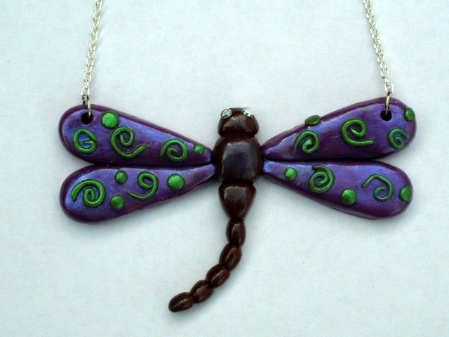 Polymer Clay Dragonfly Necklace Pick Any Color 24 95 Via Etsy