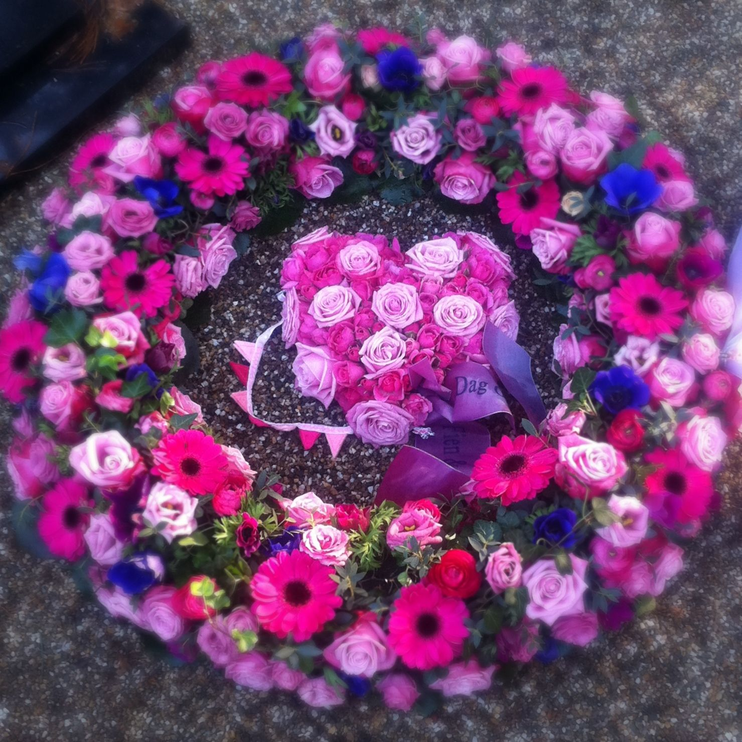 Funeral flowers bright pink purple blue wreath with pink flower funeral flowers bright pink purple blue wreath with pink flower heart izmirmasajfo Images