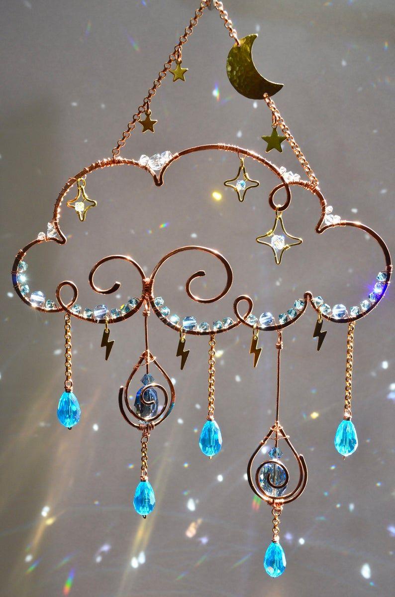 Moon Stars Rain Cloud Sun catcher, raindrops light