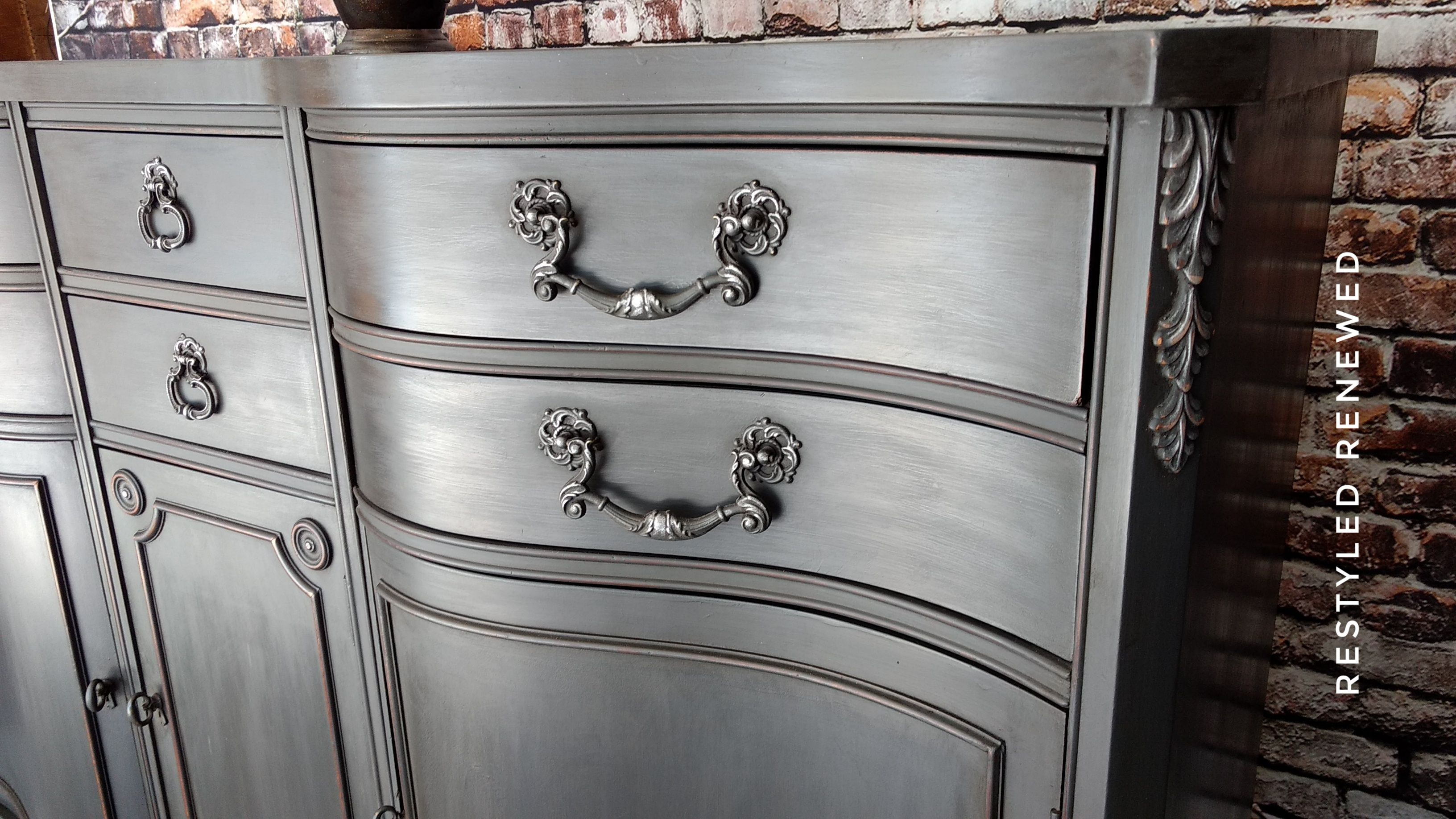 Graphite Buffet Annie Sloan Painted Furniture Rustic Dining Furniture Painted Furniture Designs