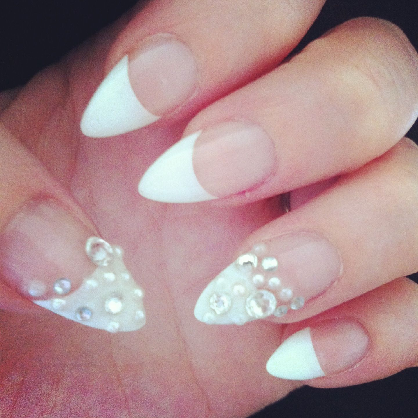 White tip nail enhancements with Swarovski crystals & white pearls ...
