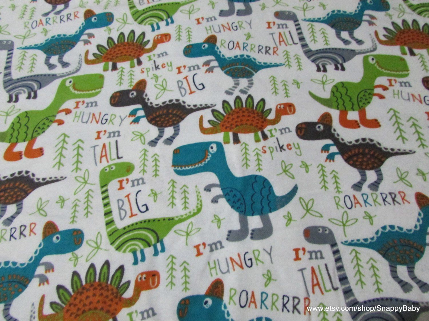Dinosaur Friends Flannel Fabric By the Yard 100/% Cotton Flannel