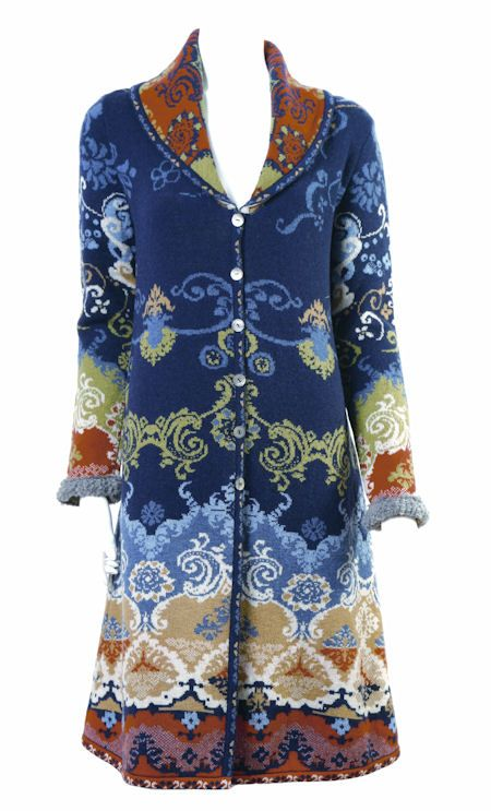 IVKO Woman`s Jacquard Wool Renaissance Pattern Coat Style 32530 039 in Navy Blue. Ivko's Renaissance style 32530, 100% wool jacquard coat in navy blue. Embossed metal button closures. Alpafur trim on sleeves. Size M/38 true US size 8 with lots room to layer. Length is 39 inches (99 cm). Made in Belgrade, Serbia. Exclusive to 2013.