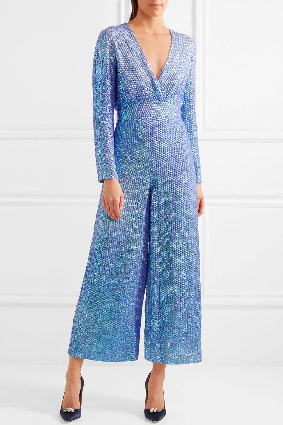 Temperley London | Tiara sequined chiffon jumpsuit | NET-A-PORTER ...