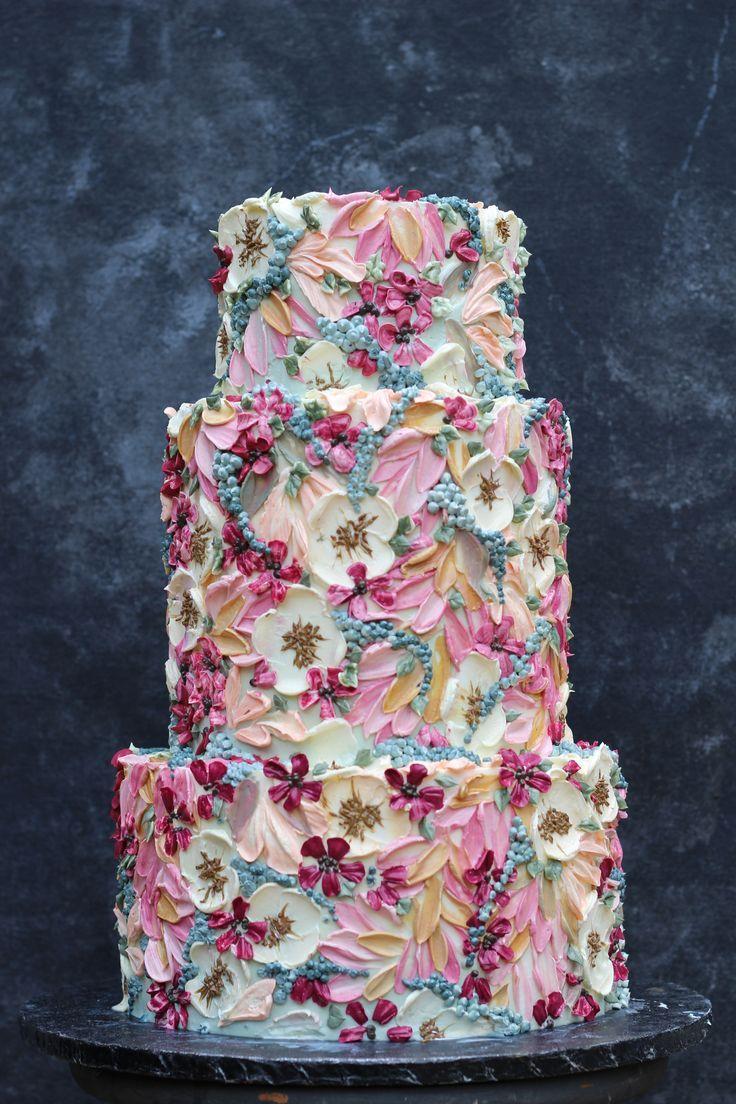 Bemalte Buttercreme-Hochzeitstorte von Emma Page Buttercream Cakes London     Ca…