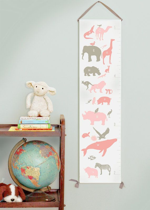 Pink And Gray Canvas Growth Chart Alphabet Animals Perfect For A
