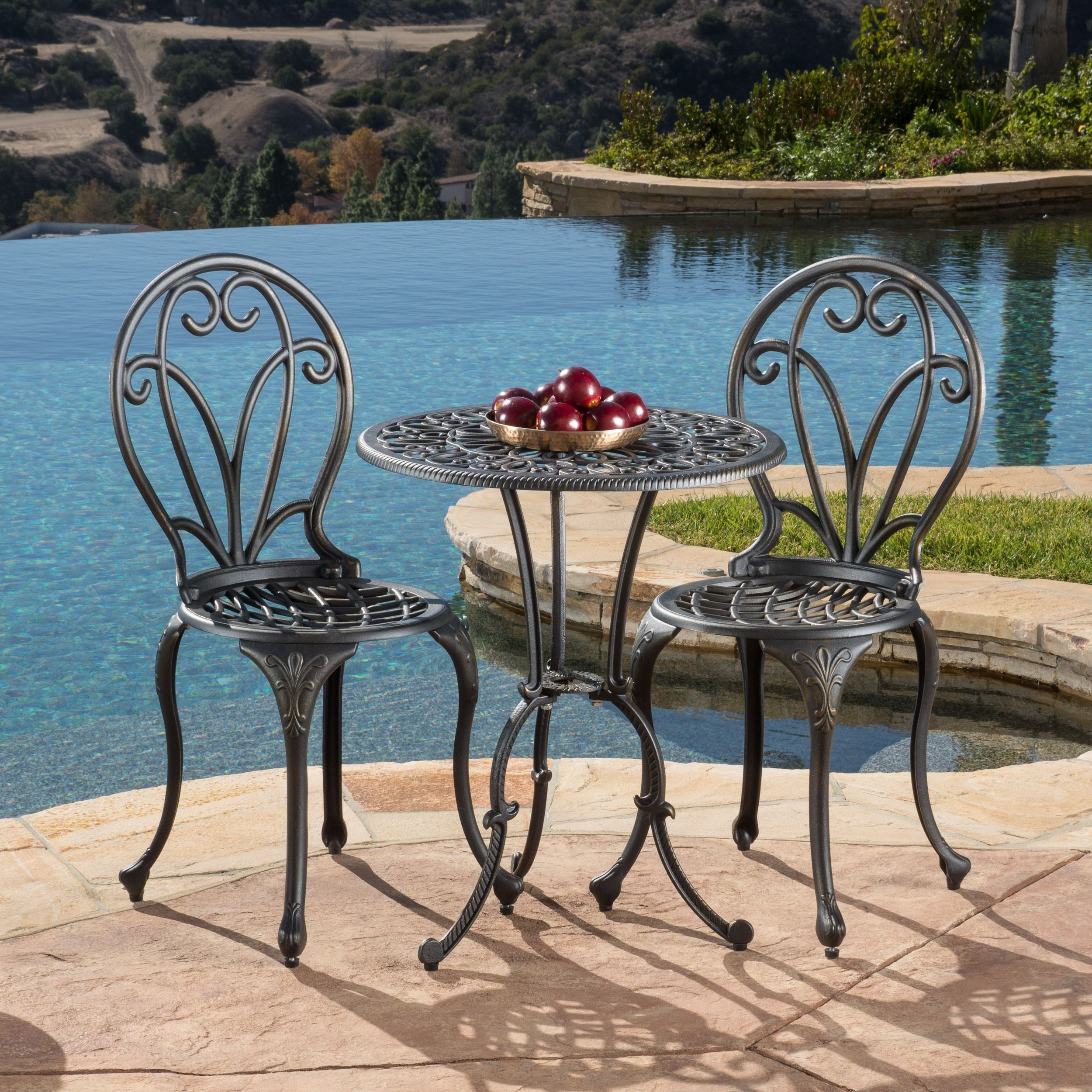 Thomas Cast Aluminum Dark Gold 3 Piece Bistro Set By Christopher Knight Home Patio Furniture