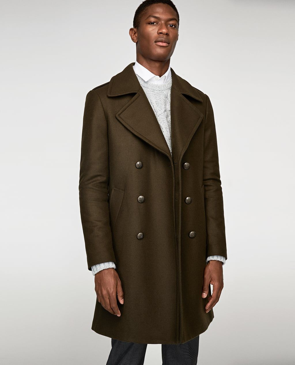 Image 2 Of Double Breasted Military Style Coat From Zara Military Style Coats Military Fashion Coat [ 1269 x 1024 Pixel ]