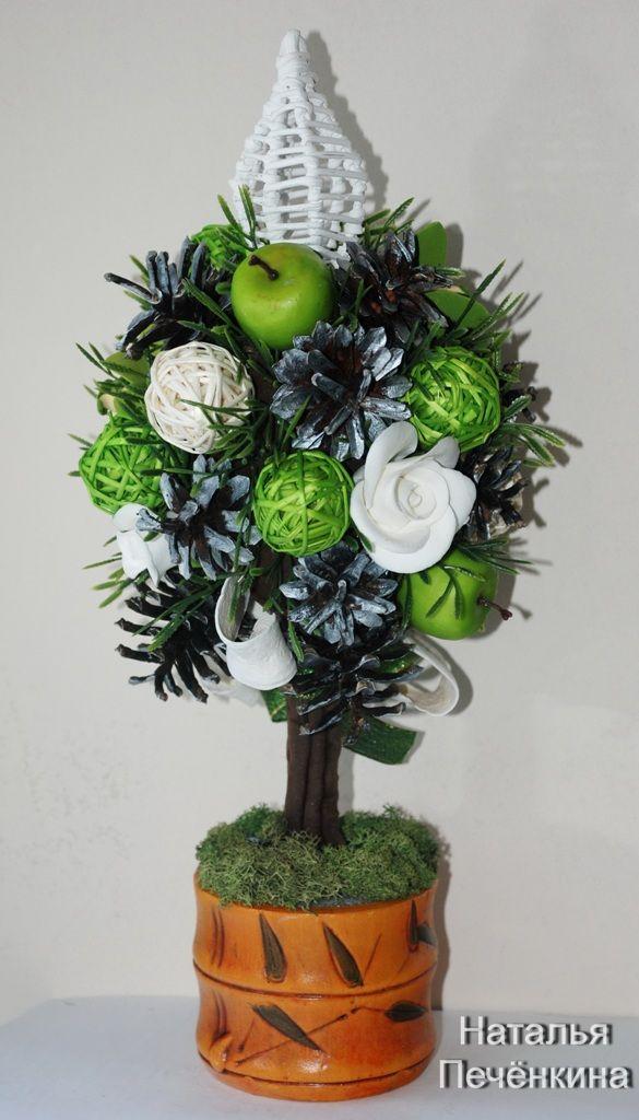Новогодний топиарий!Розы из полимерной глины DECO.