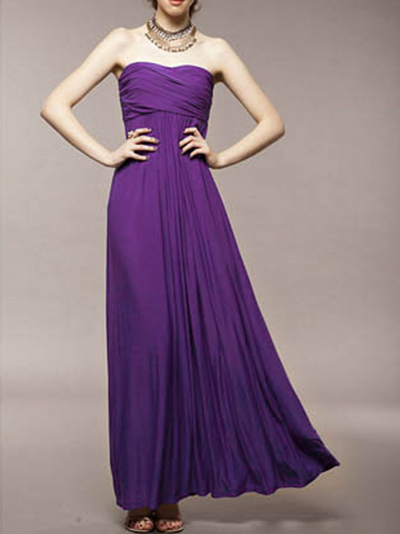 b8c734f533d9 Strapless Ruched Maxi Dress in Purple | Choies | Formal Dresses ...