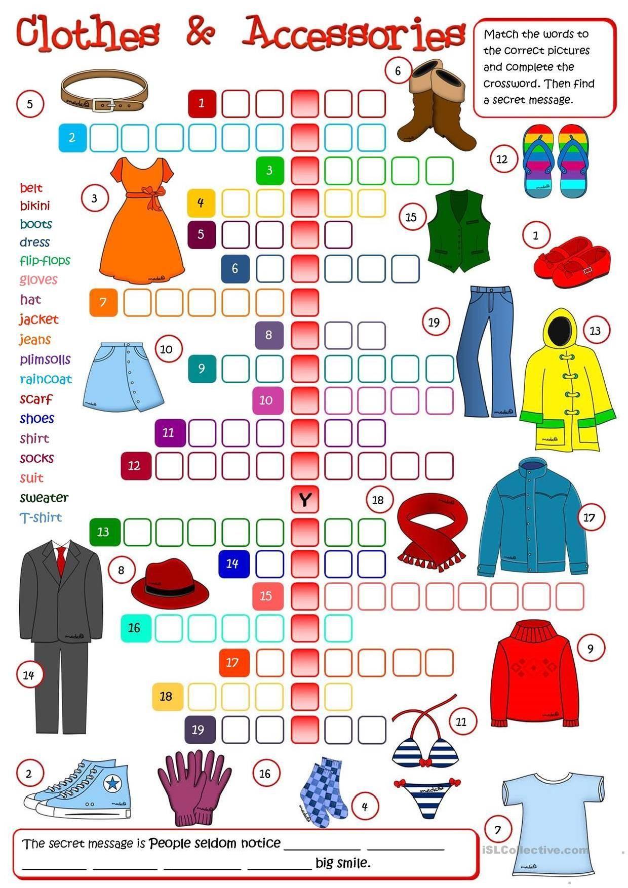 Clothes Crosswords 2